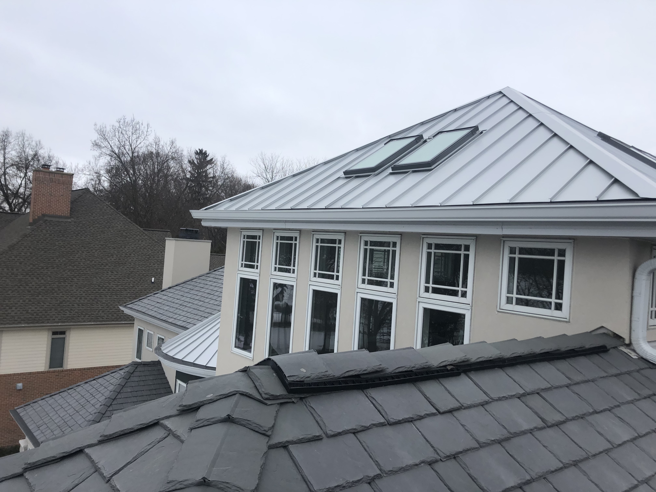Wisconsin Roofing LLC | Residential | Elkhart Lake | Metal roof with skylights