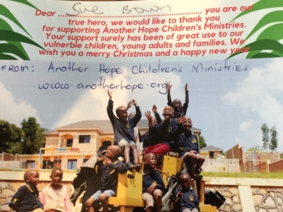 Thank You Postcard from Another Hope Children's Ministries