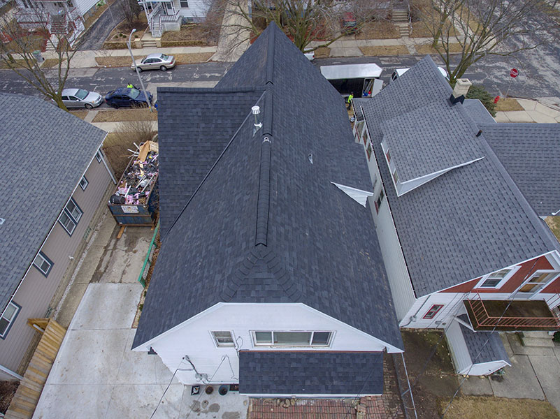 Wisconsin Roofing LLC | Drone | Residential | Wauwatosa | Certainteed PRO | Moire Black