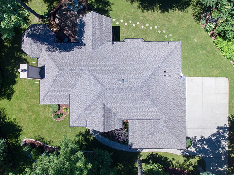 Wisconsin Roofing LLC | Drone | Residential | New Berlin | Certainteed PRO | Weathered Wood