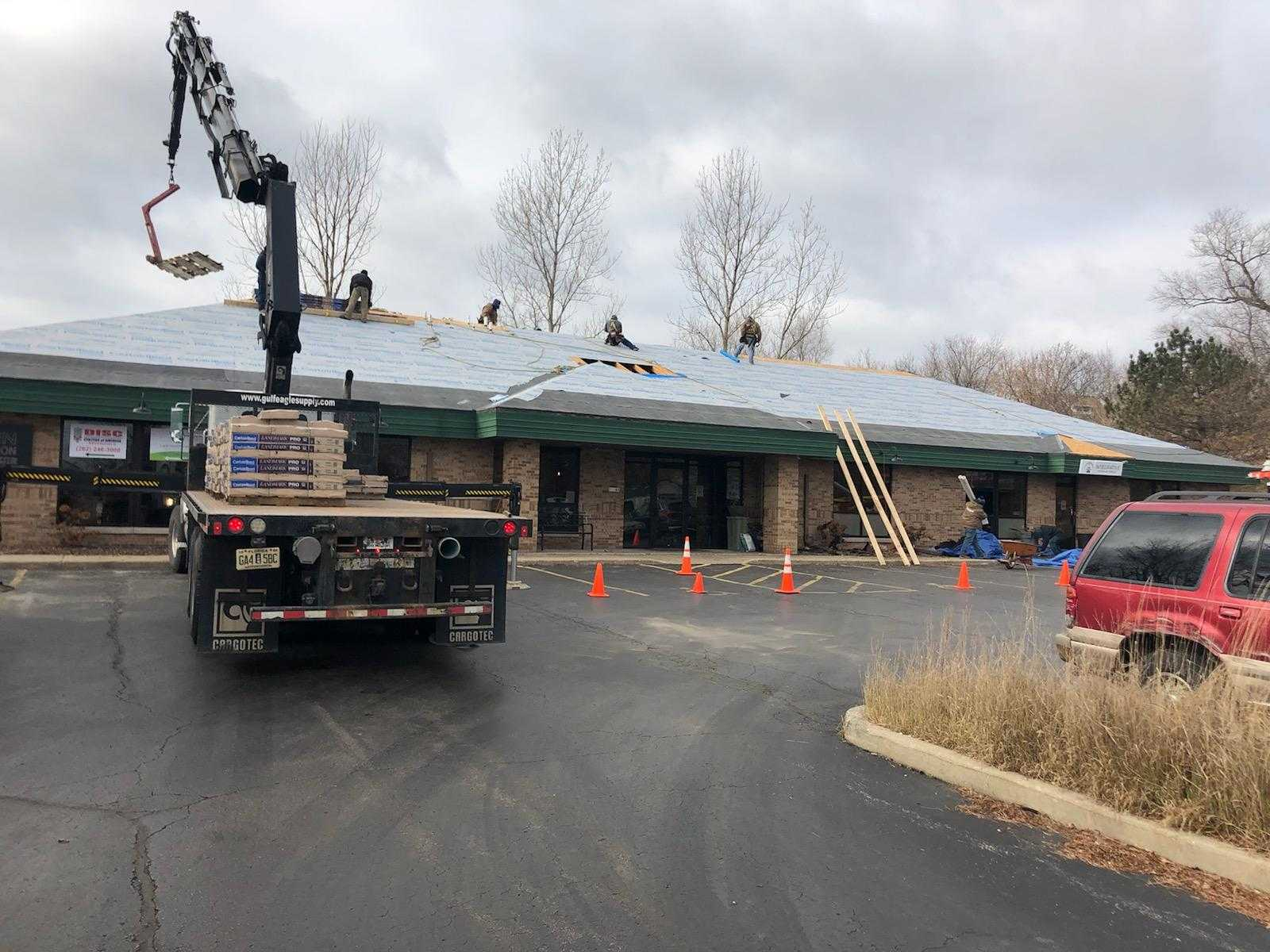 Commercial Metal Roof In Process Truck Lift