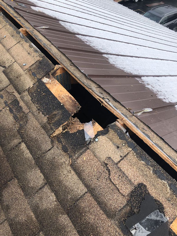 Commercial Metal Roof Before Damage Top