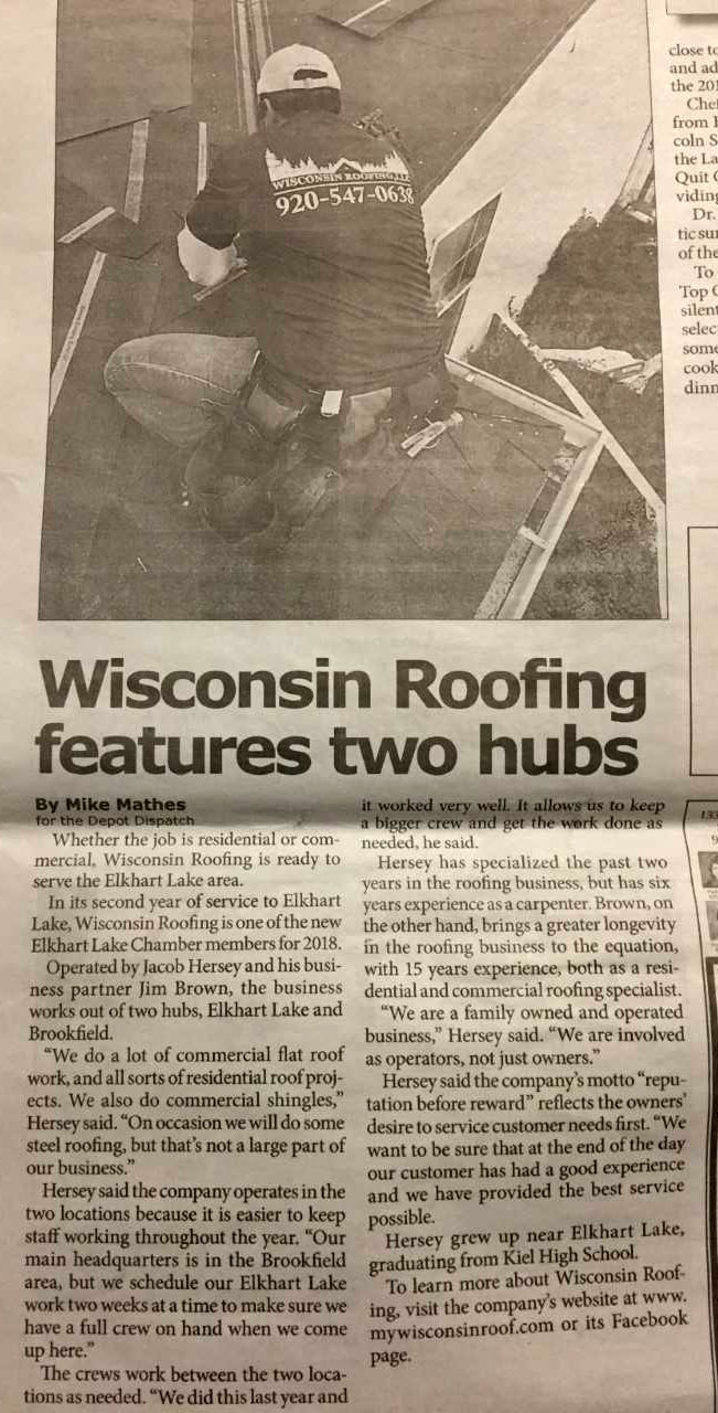 Wisconsin Roofing LLC | News | Article | Two Hubs