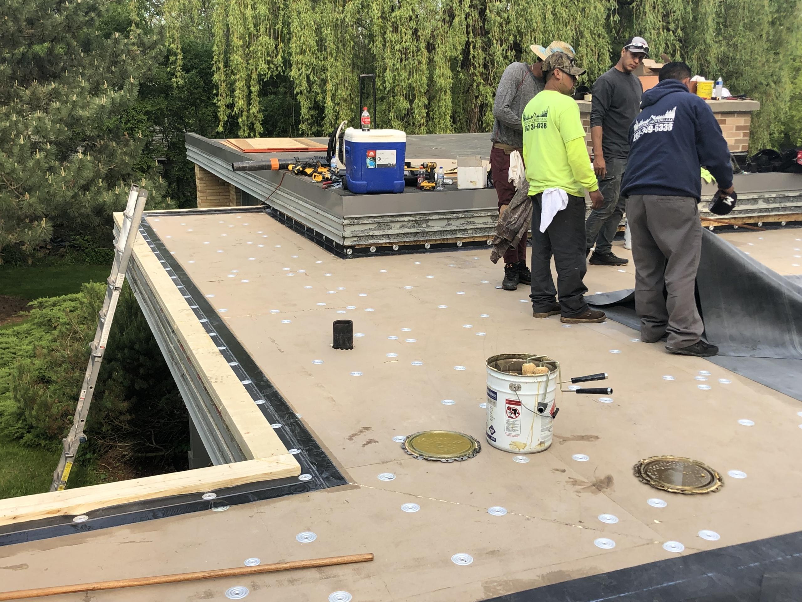 Wisconsin Roofing LLC | Flat Deck | In Progress | Brookfield