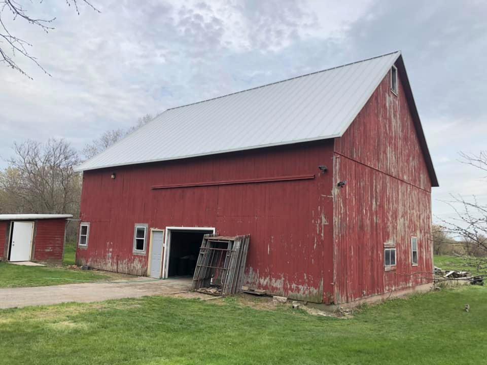 Wisconsin Roofing LLC | Plymouth WI | Custom Bent Firestone Standing Seam Metal | Barn Outside