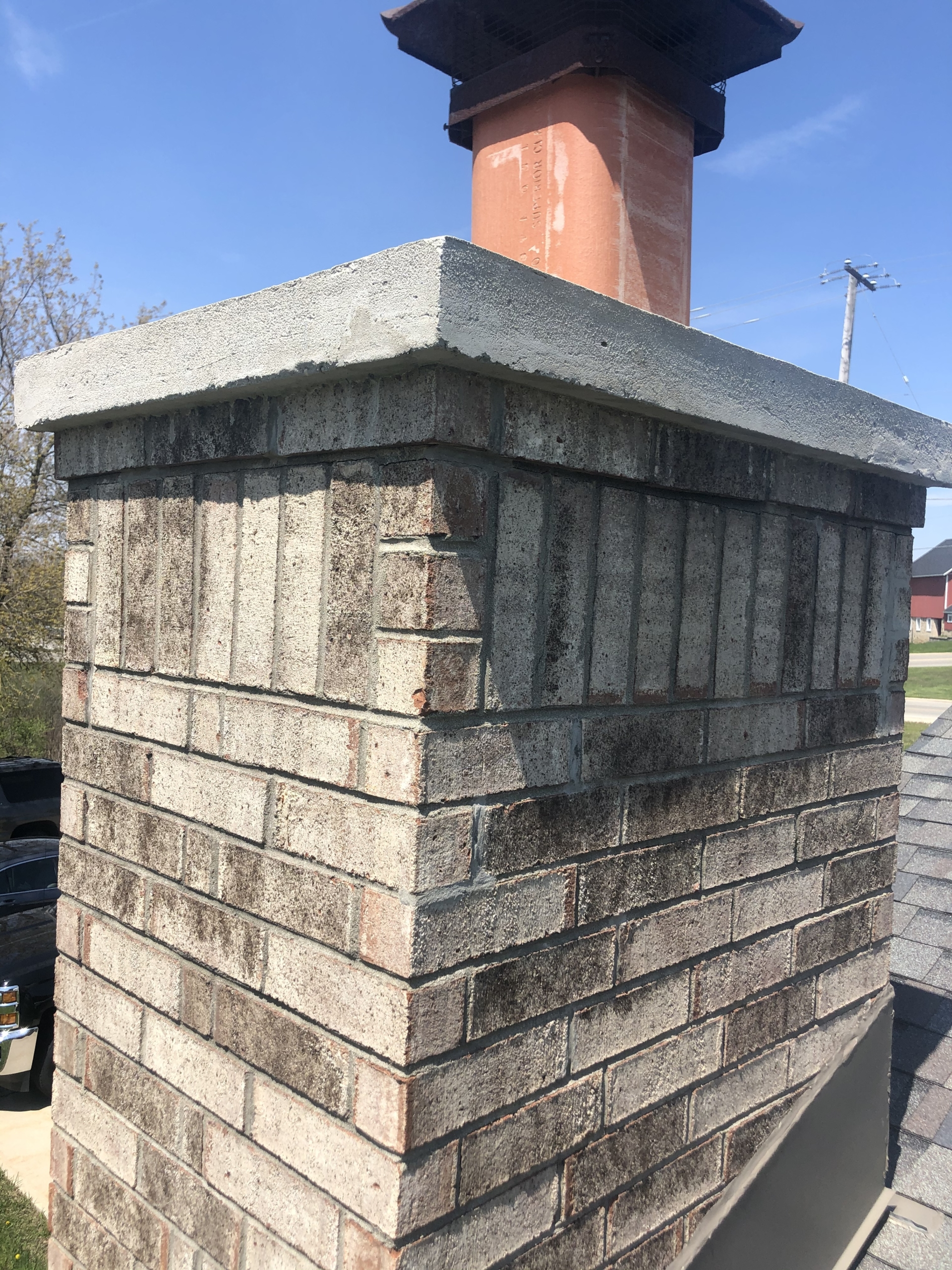 Wisconsin Roofing LLC | Residential | Mequon | Custom chimney diverter flashing top view