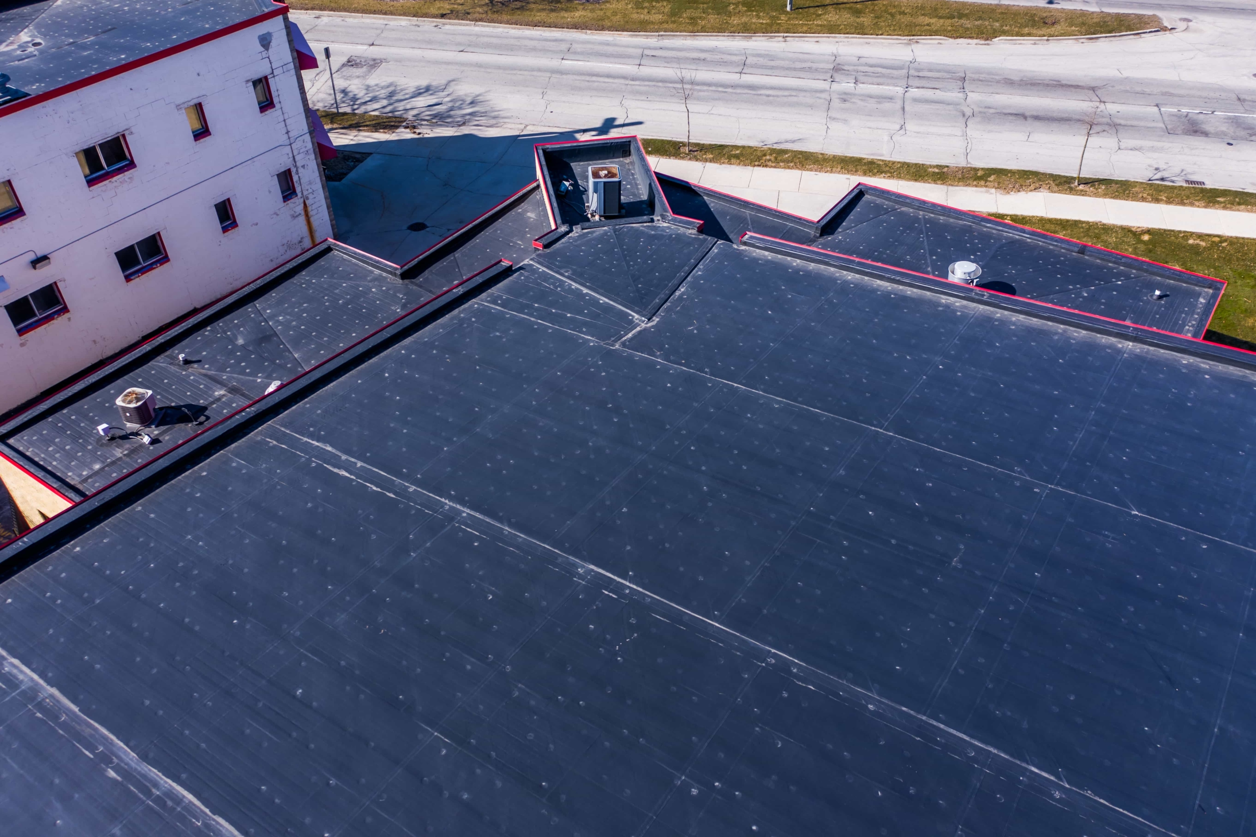 Wisconsin Roofing LLC | Drone | Commercial | Street Side View